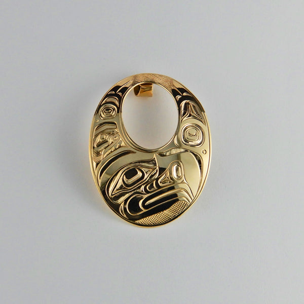 Large Gold Eagle Oval Pendant