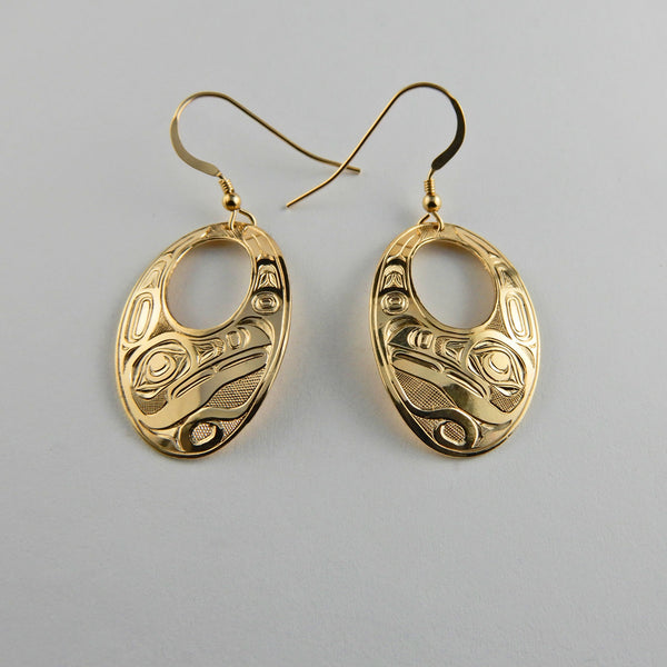Gold Raven Oval Earrings