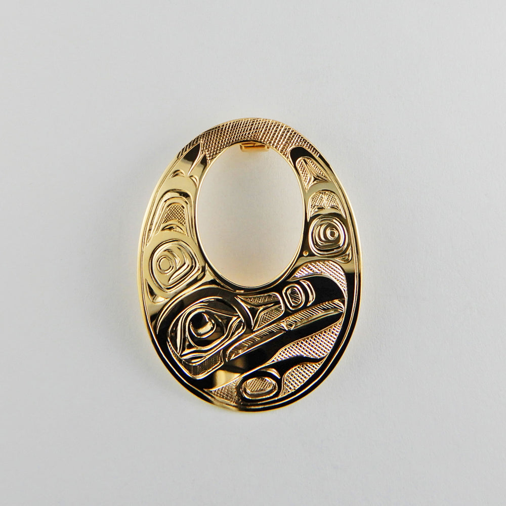 Large Gold Raven Oval Pendant