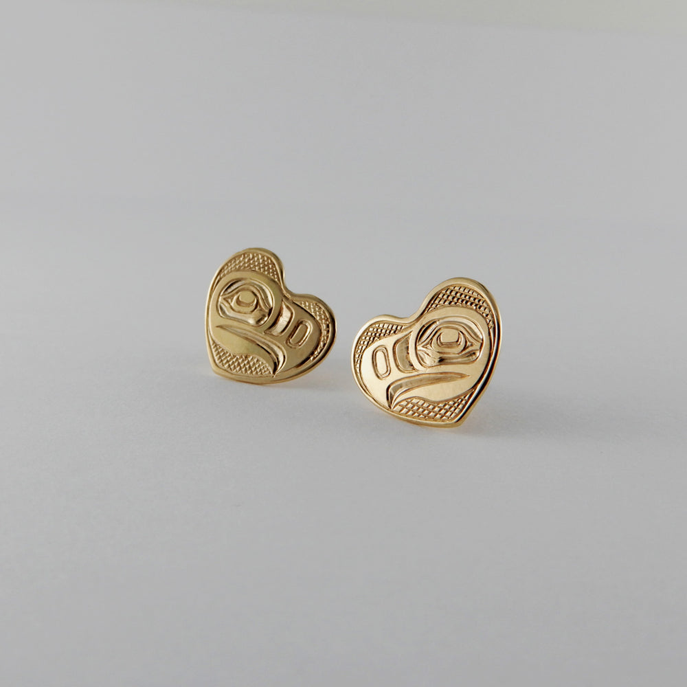 Gold Eagle Heart Studs / Earrings