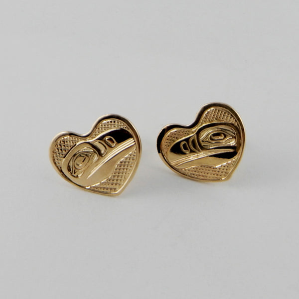 Gold Raven Heart Studs / Earrings