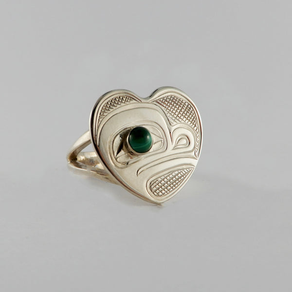 Silver and Malachite Heart Shaped Frog Ring