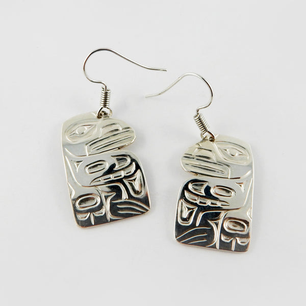 Haida Raven Silver Earrings