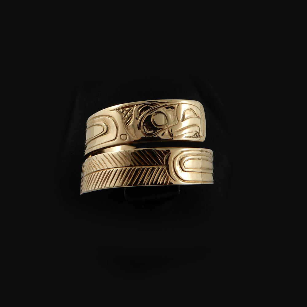 Haida Eagle Gold Wrap ring