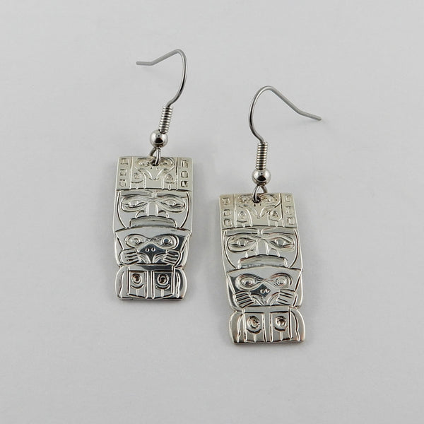 Haida Watchman Silver Earrings