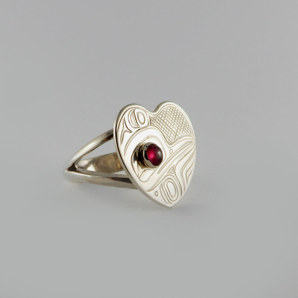 Silver and Garnet Heart Shaped Hummingbird Ring
