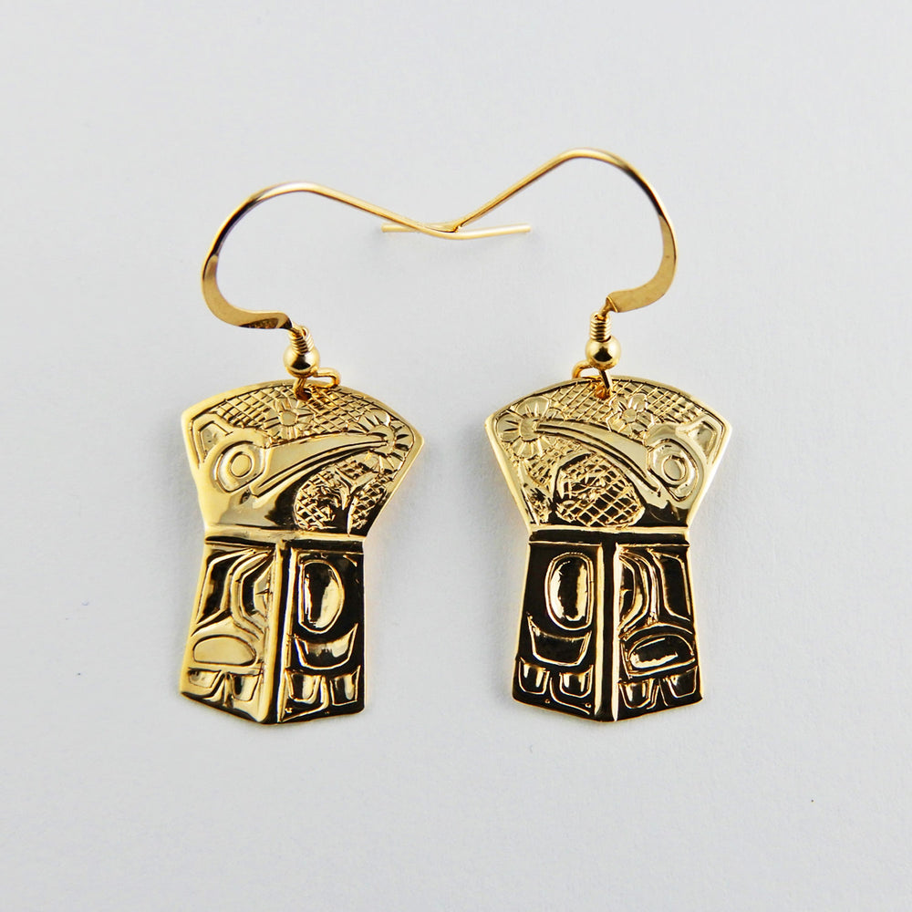 Gold Haida Hummingbird Earrings
