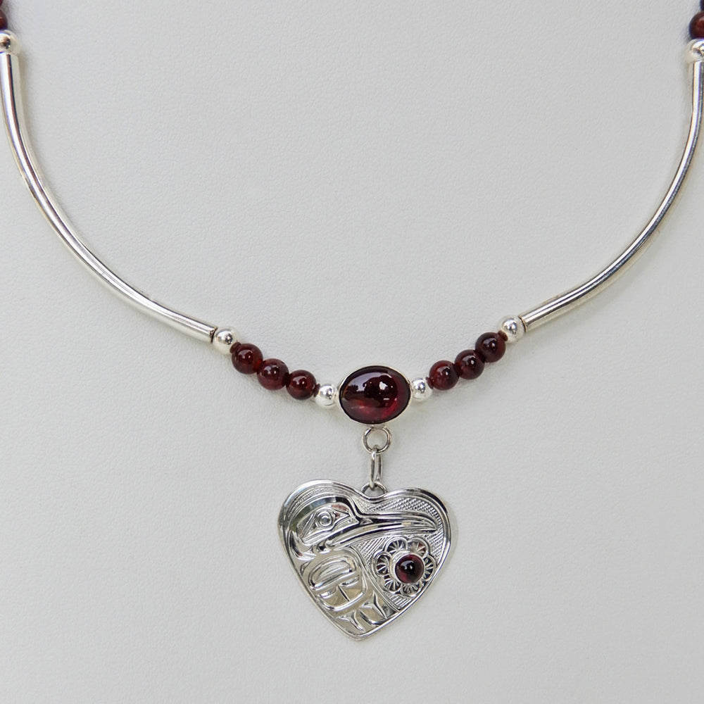 Hummingbird Silver Necklace with Garnet