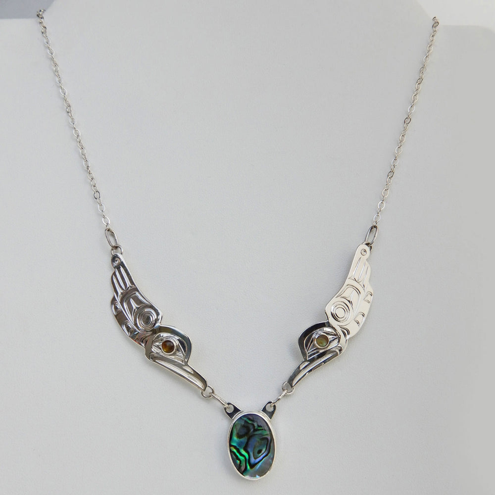 Hummingbird Song Silver Chain Necklace with Abalone