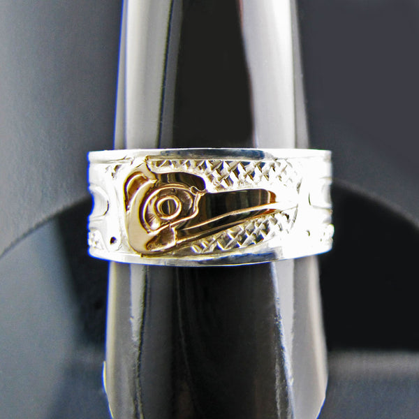 Haida Hummingbird Gold and Silver 1/4 inch Ring