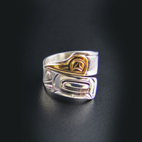 Gold and Silver Hummingbird Wrap Ring