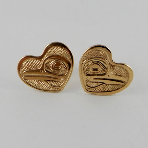 Gold Hummingbird Heart Studs / Earrings