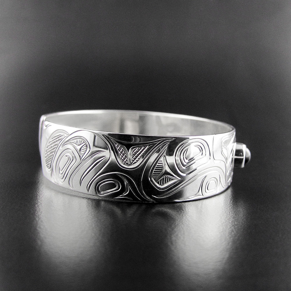1/2 inch Wolf Silver and Onyx Bracelet by Chris Cook