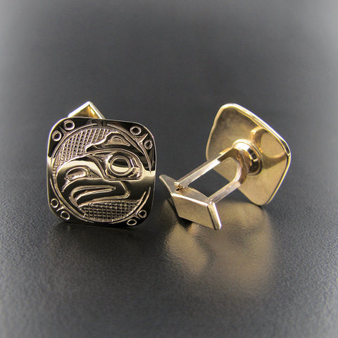 Gold Square Eagle Cufflinks by Carmen Goertzen