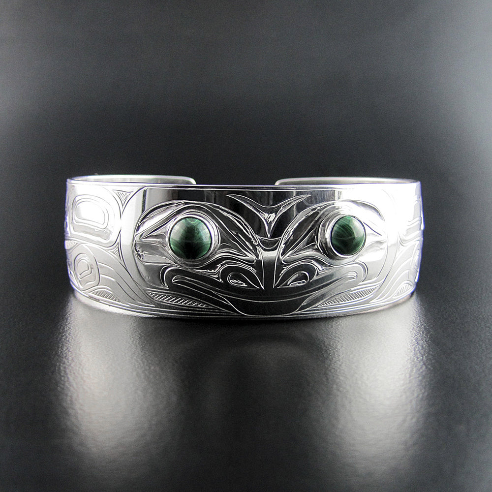 Frog 3/4 Inch Bracelet with Malachite