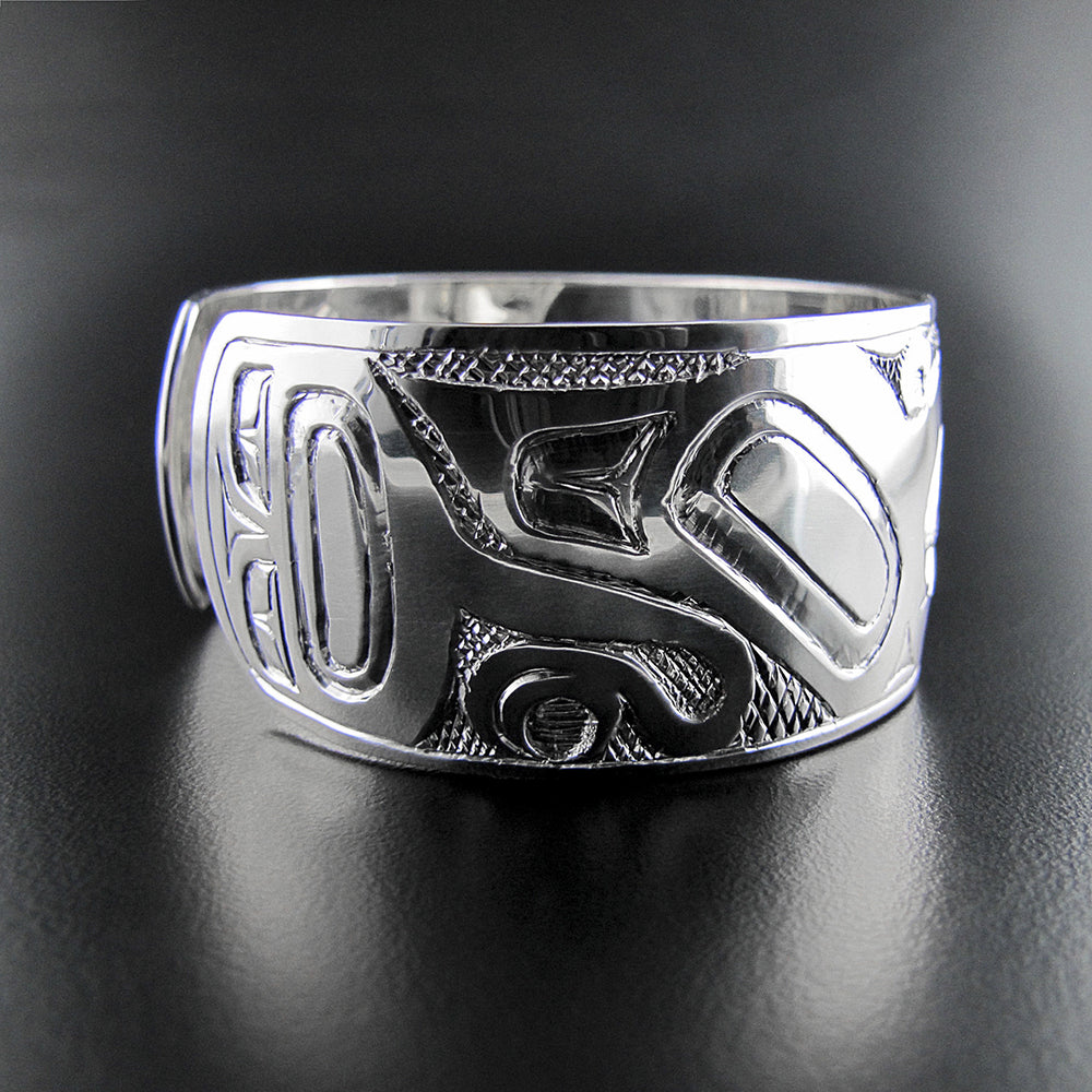 Bracelet Eagle Silver by Haida Artist Nelson Cross