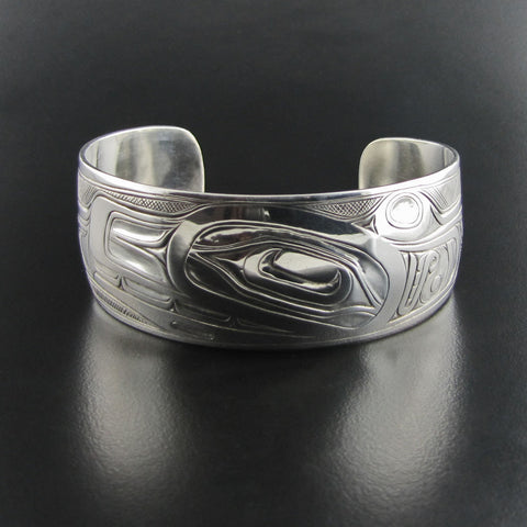 Orca or Killer Whale Silver Oxidized Bracelet by Joe Wilson