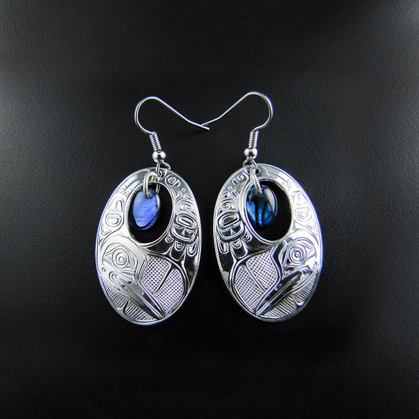 Loon Silver Earrings with Abalone