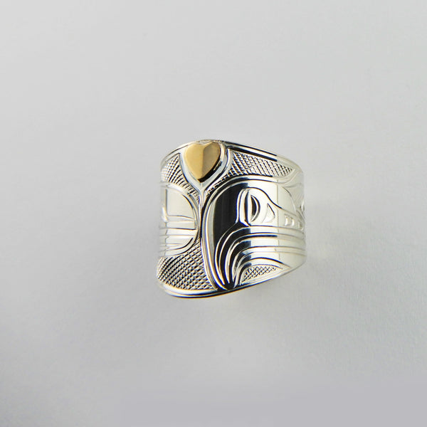 Gold and Silver Love Bird Ring