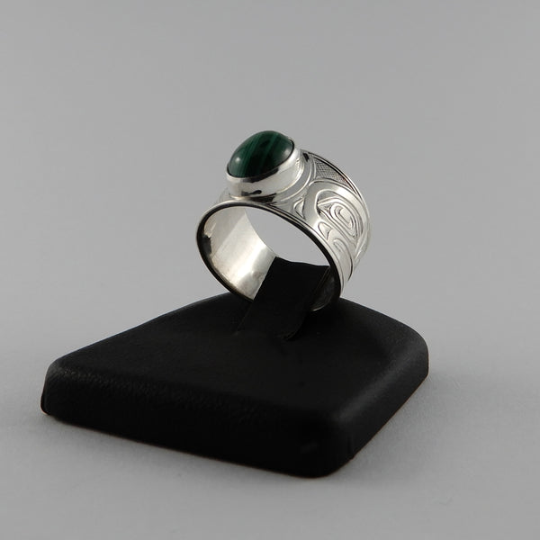 Sterling Silver and Malachite Frog Signet Ring