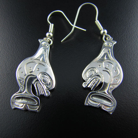 Haida Orca Silver Earrings