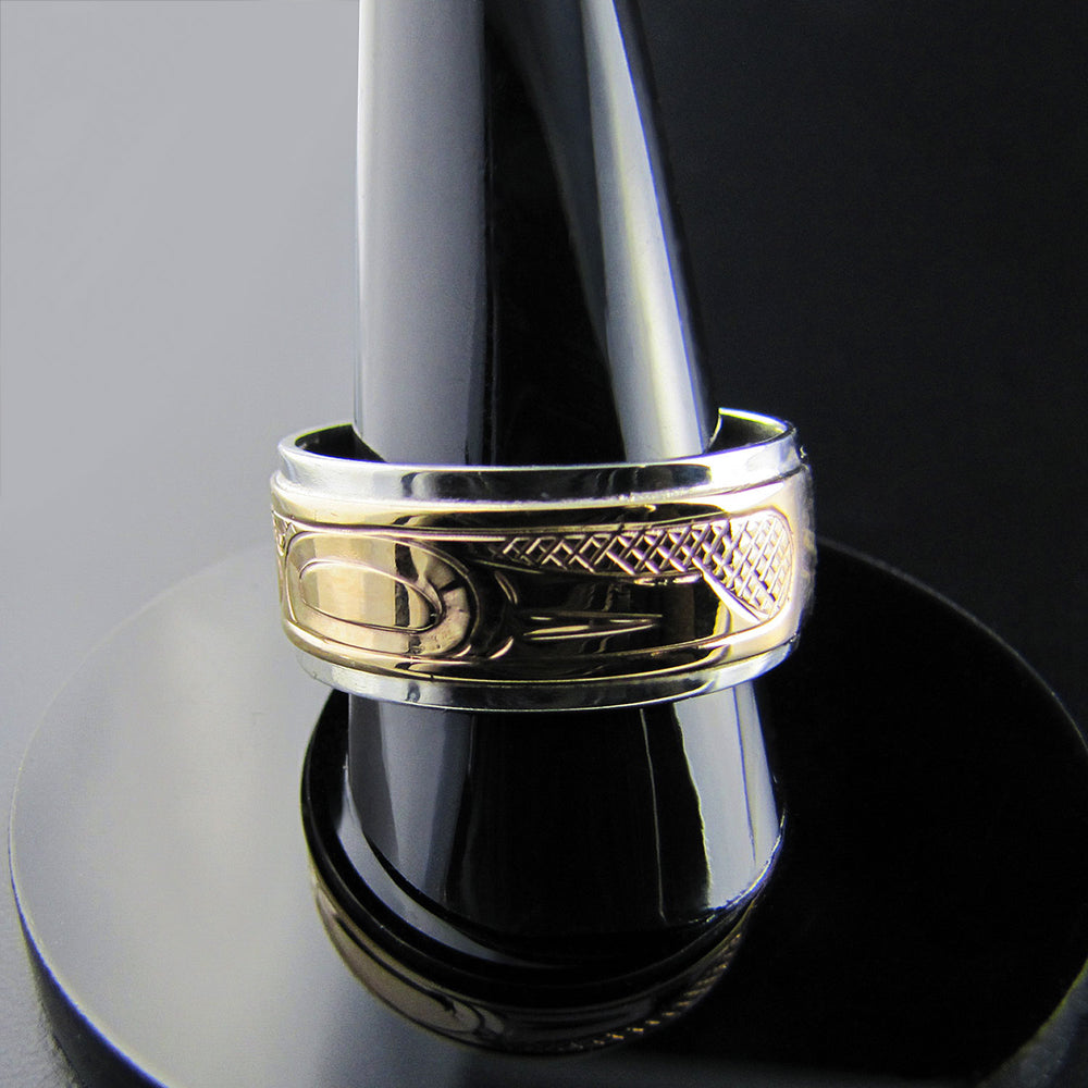 Orca or Killer Whale Silver with Gold Band