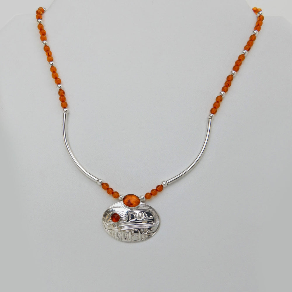 Raven Silver Necklace with Amber