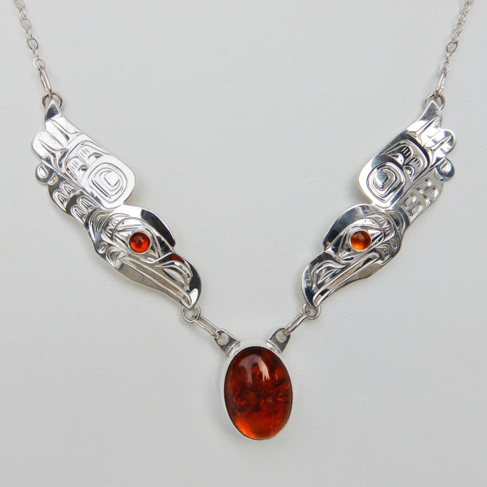 Raven Song Silver Chain Necklace with Amber