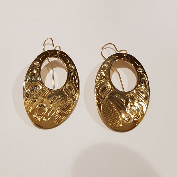 Gold Haida Oval Earrings