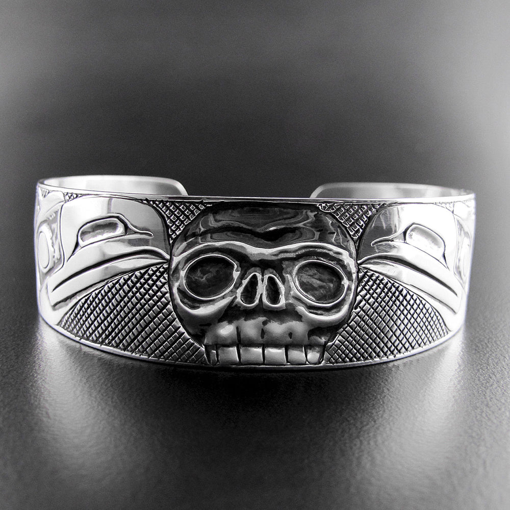Raven Skull Oxidized Silver Bracelet - Spirits of the West Coast Native Art Gallery