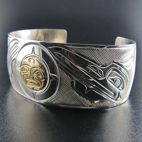 Raven Steals the Moon Silver and Gold Bracelet