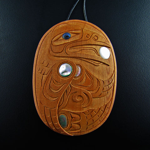 Raven Yew Wood Pendant By Ron Russ