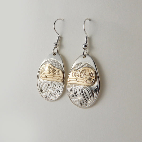 Raven Silver and Gold Earrings