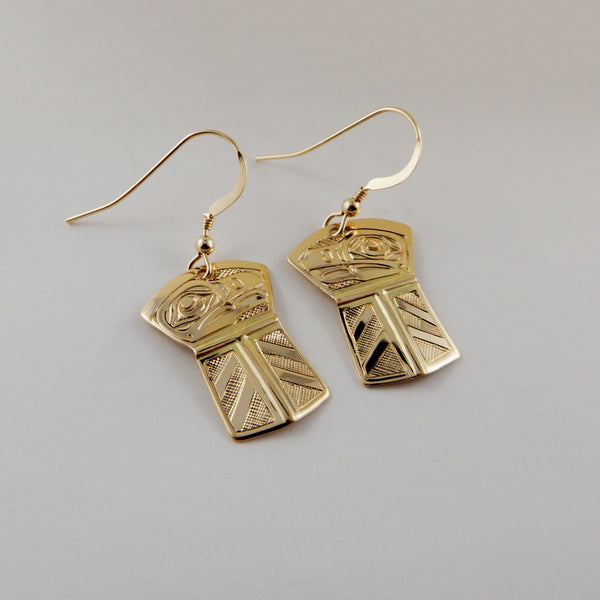 Gold Raven Copper Shaped Earrings