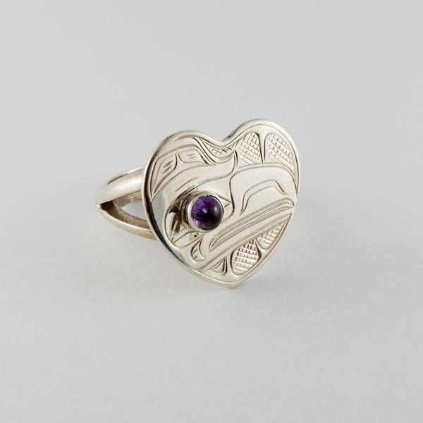 Silver and Amethyst Heart Shaped Raven Ring
