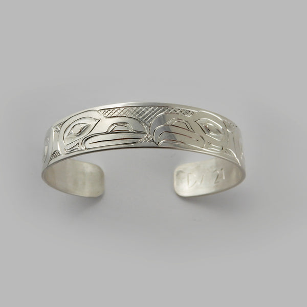 Haida Raven and Eagle 1/2 inch Silver Bracelet