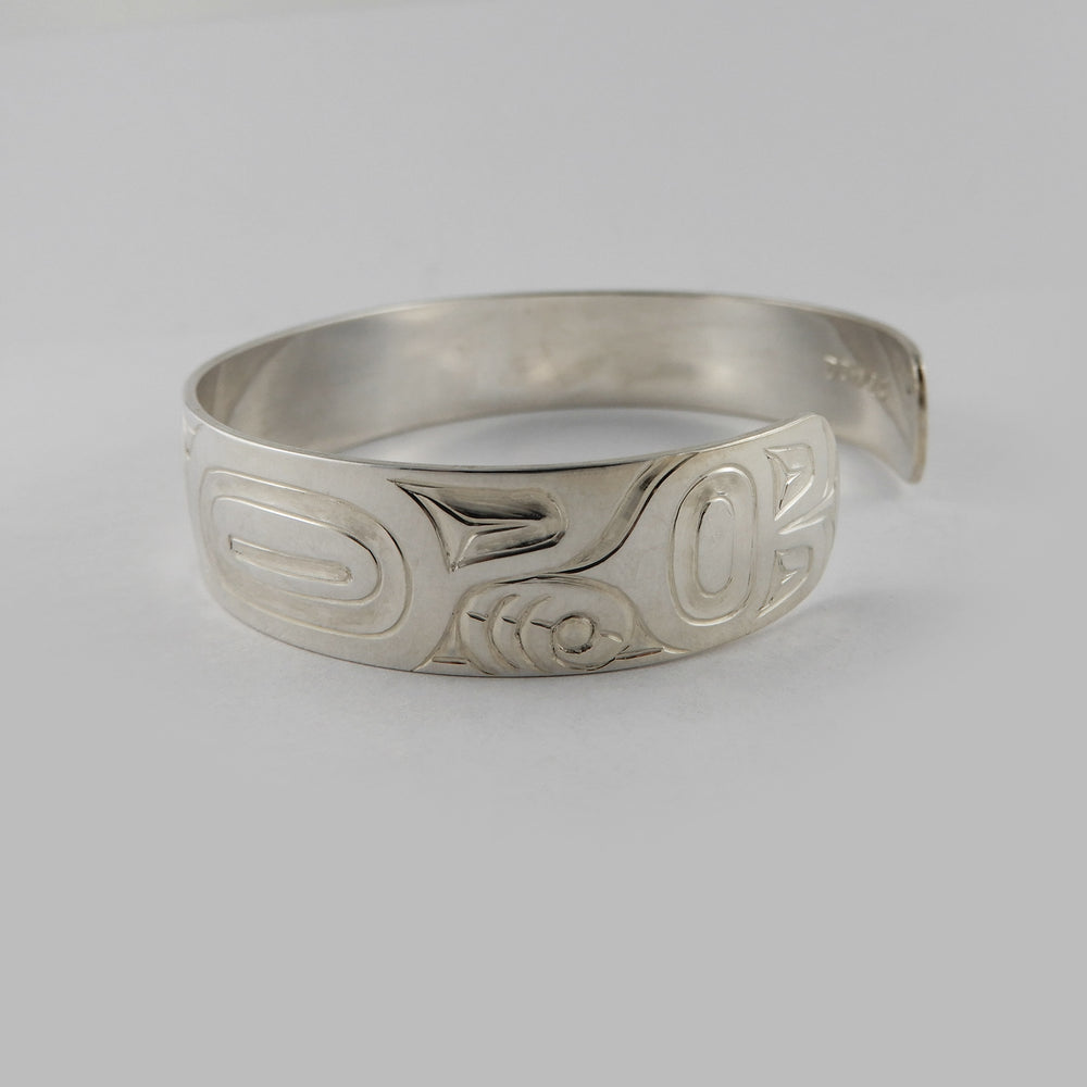 Haida Love Bird 1/2 inch Silver Bracelet by Derek White