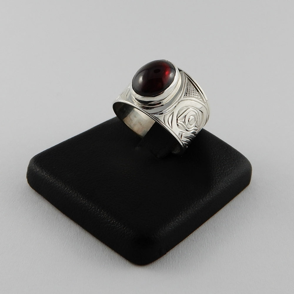 Sterling Silver and Garnet Hummingbird Signet Ring