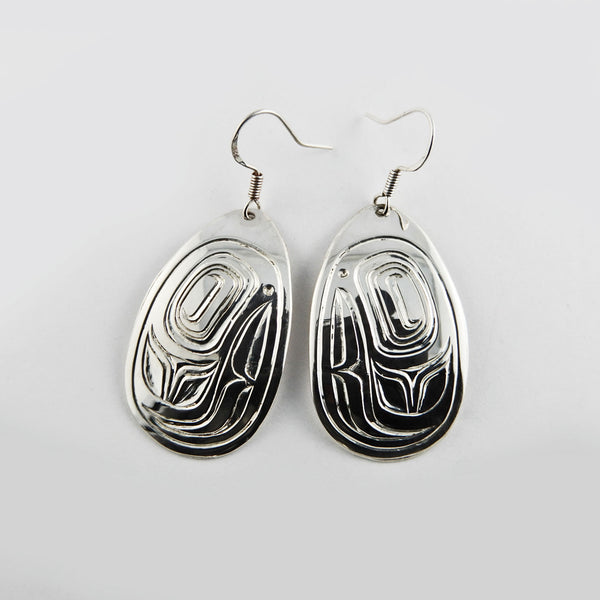Salmon Head Silver Earrings