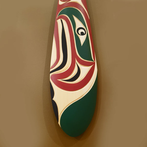 Salmon Paddle Carved in Yellow Cedar by Trevor Hunt