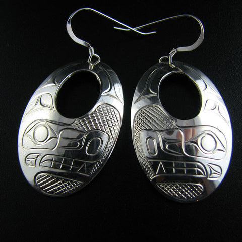 Silver Oval Crest Earrings