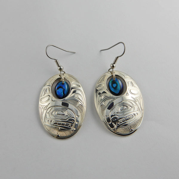 Orca or Killer Whale Silver Earrings with Abalone
