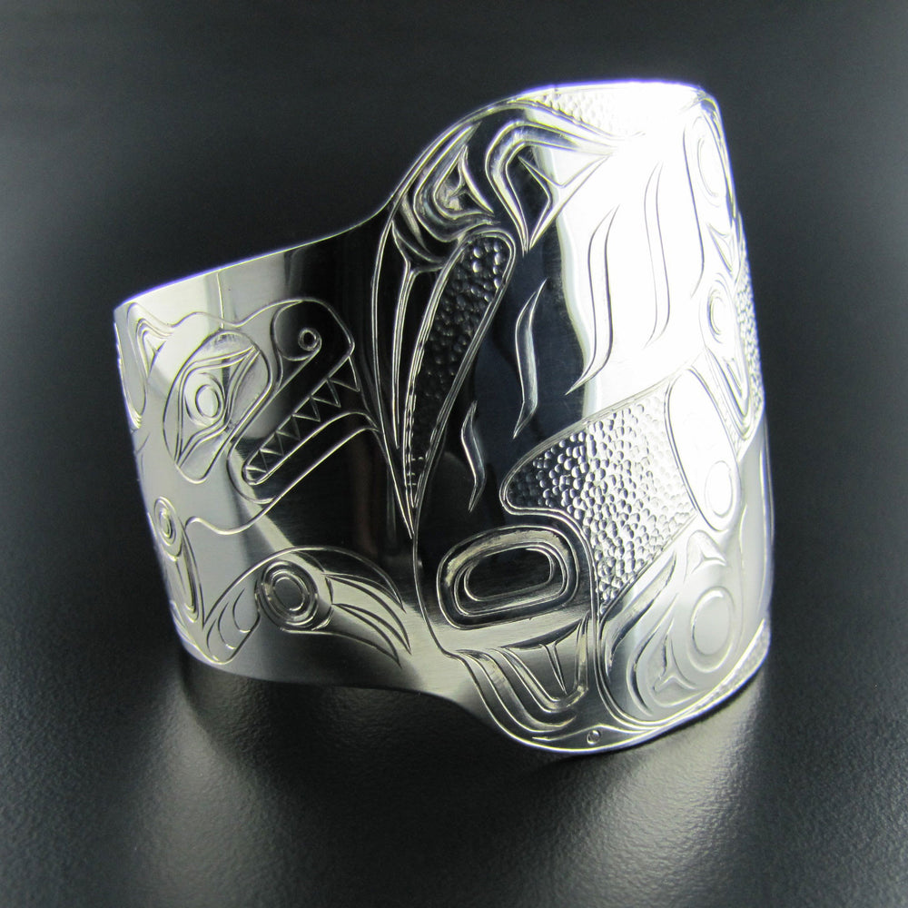 Lazy Son-in-Law Silver Haida Bracelet by Ron Russ