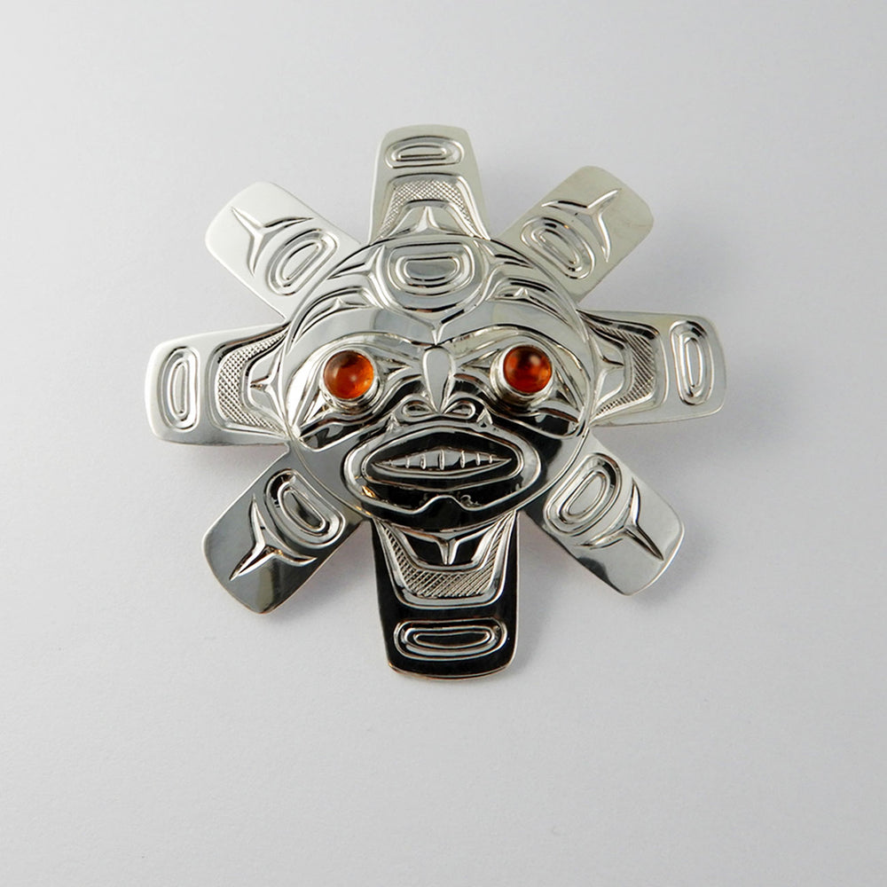 Sun Spirit Silver and Amber Pendant
