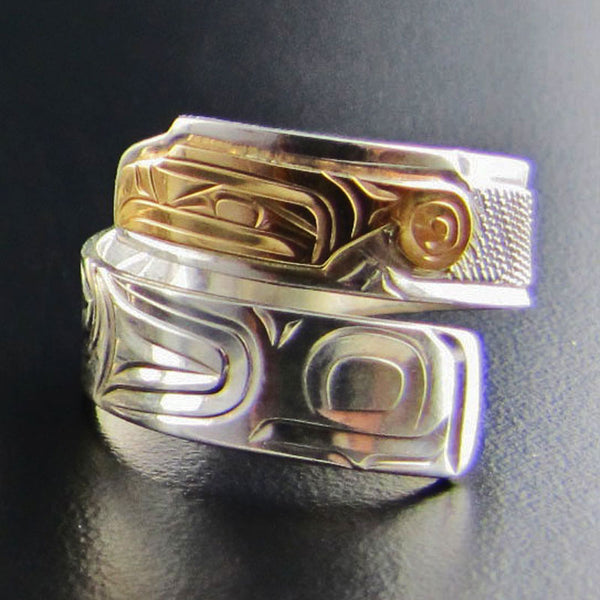 Gold and Silver Thunderbird Wrap Ring