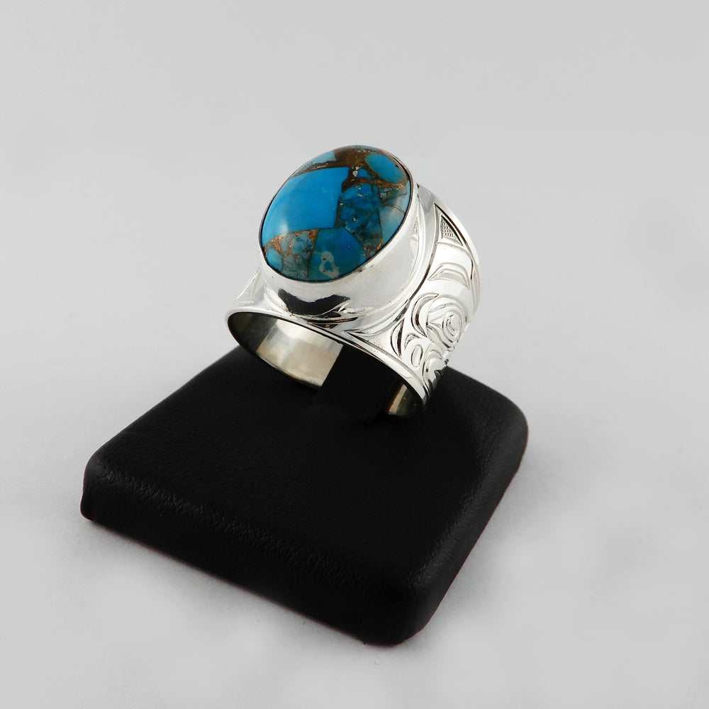 Large Silver and Turquoise Pyrite Signet Ring