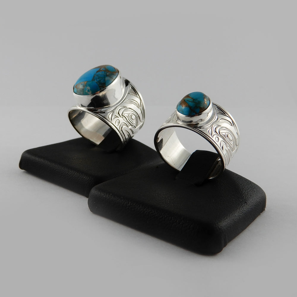Silver and Turquoise Pyrite Signet Ring