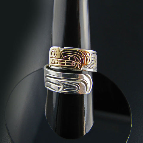Gold and Silver Wolf Wrap Ring