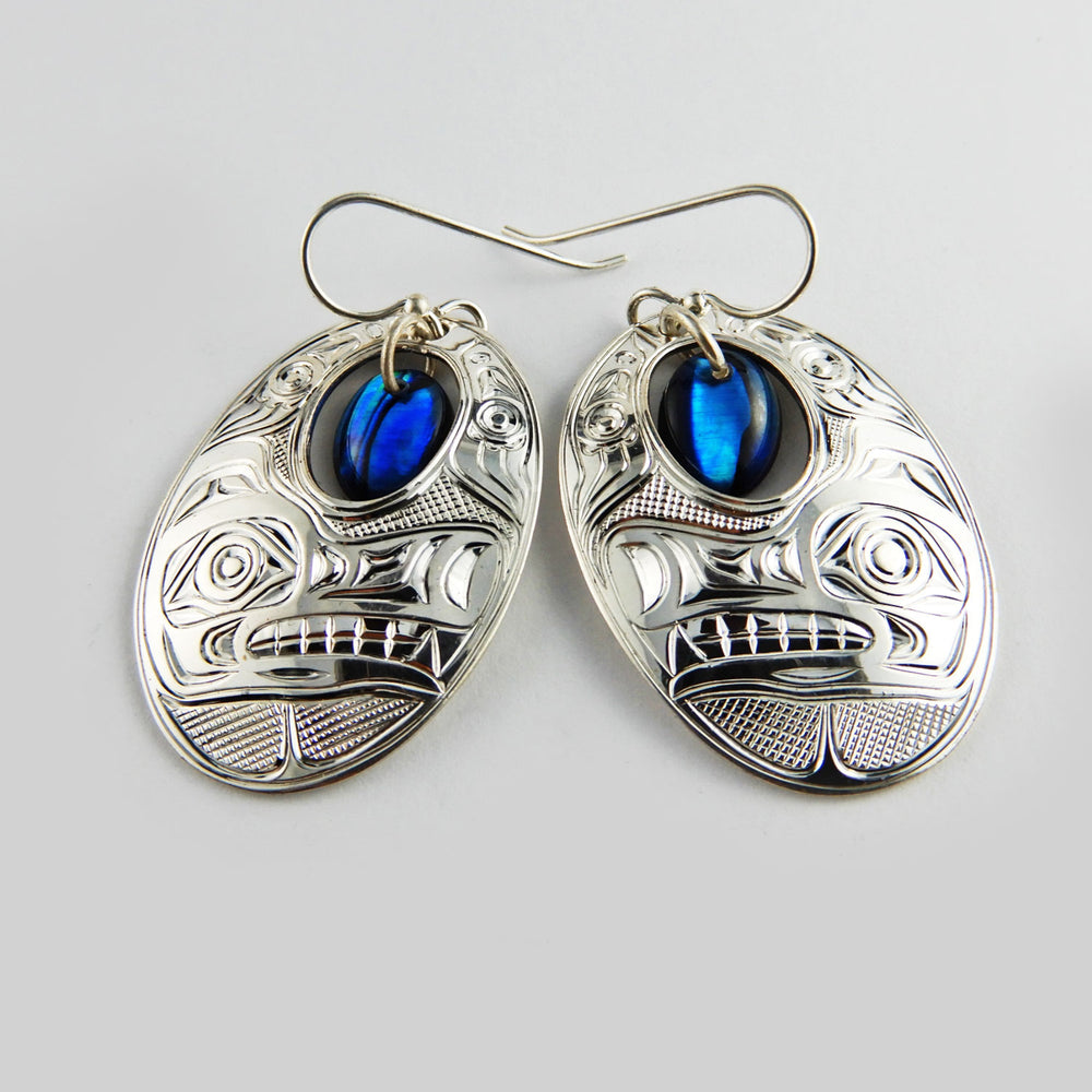 Wolf Silver Earrings with Abalone