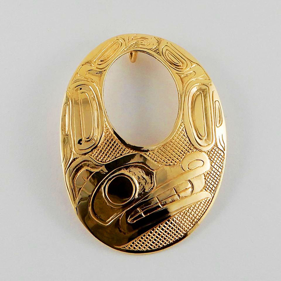 Large Gold Wolf Oval Pendant